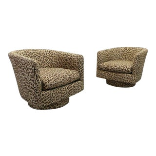 Milo Baughman Stunning Swivel Club Chairs in Brunschwig & Fils Cheetah Print Jacquard - A Pair For Sale