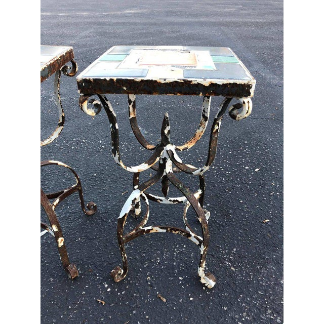 Metal Vintage Iron Tile Top Tables - a Pair For Sale - Image 7 of 10