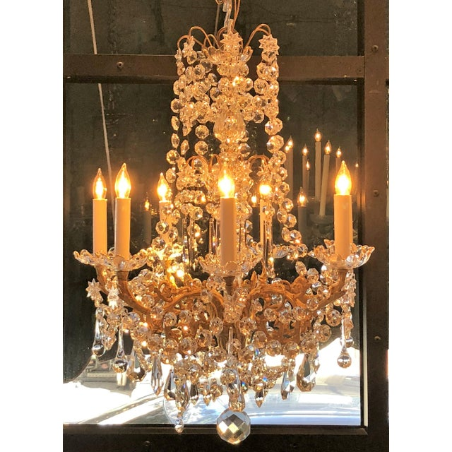 Antique French Fine Crystal and Bronze D'Ore Chandelier, Circa 1910-1920.