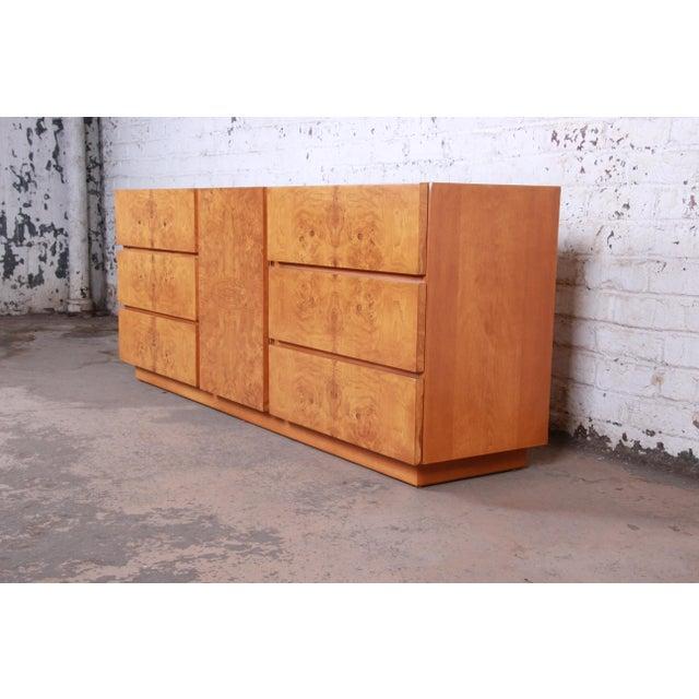 A gorgeous Milo Baughman style mid-century modern burl wood triple dresser or credenza By Lane Furniture USA, 1970s Book-...