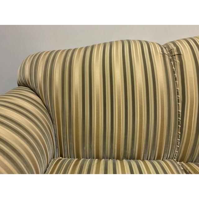 Fabric Baker Roll Arm Sofa in Cut Velvet For Sale - Image 7 of 13