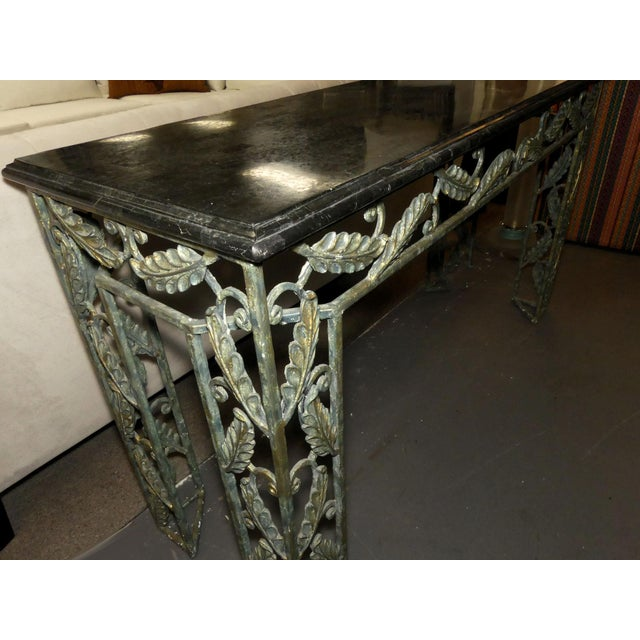 1990s Traditional Maitland Smith Marble Top Iron Console Table For Sale - Image 5 of 13