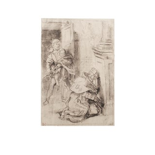 """1959 Eugene Delacroix """"Hamlet and Claudius"""", Large Hungarian Photogravure For Sale"""