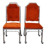 Image of Hollywood Regency Faux Bamboo Chippendale Style Chrome Chairs - a Pair For Sale