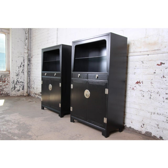 Baker Furniture Company Michael Taylor for Baker Far East Collection Ebonized Chinoiserie Wall Units, Pair For Sale - Image 4 of 13