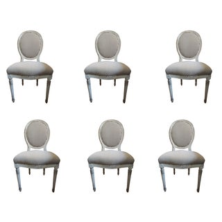 Set of Six Louis XVI Style Medallion Chairs For Sale