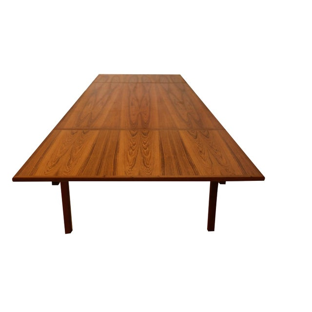 Danish Teak Extra Large Expanding Dining Table With 2 Leaves For Sale - Image 4 of 9