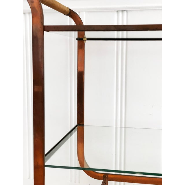 Carl Auböck 1940s Art Deco Carl Aubock Copper and Rattan Bar Cart For Sale - Image 4 of 8