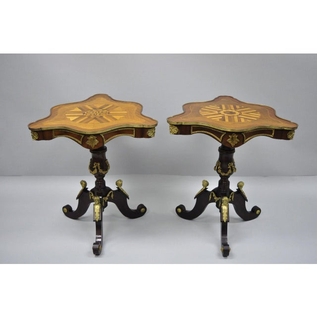 Louis XV French Style Repro Marquetry Inlay Bronze Figure Side Tables - a Pair For Sale - Image 10 of 13
