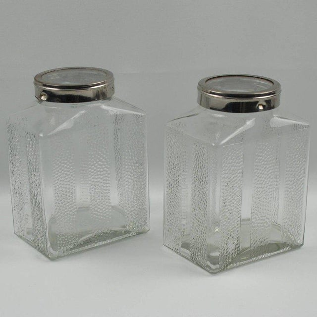 Art Deco Glass and Chrome Kitchen Canister Jar - a Pair - Image 2 of 9
