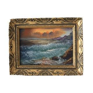 Vintage Mid-Century Seascape Oil Painting For Sale