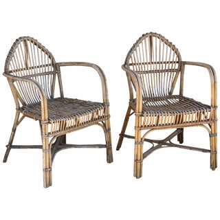 Antique French Rattan Armchairs - a Pair For Sale