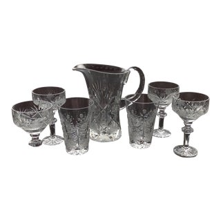 Bohemian Cut Crystal Barware Set - Set of 7 For Sale