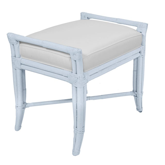 Coastal Small Malacca Bench - Blue For Sale - Image 3 of 3