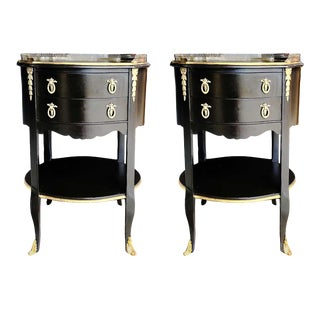 Vintage French Louis Gueridon Tables Ormolu Mounted Brass - a Pair For Sale