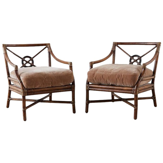 Pair of McGuire Bamboo Rattan Target Lounge Chairs For Sale