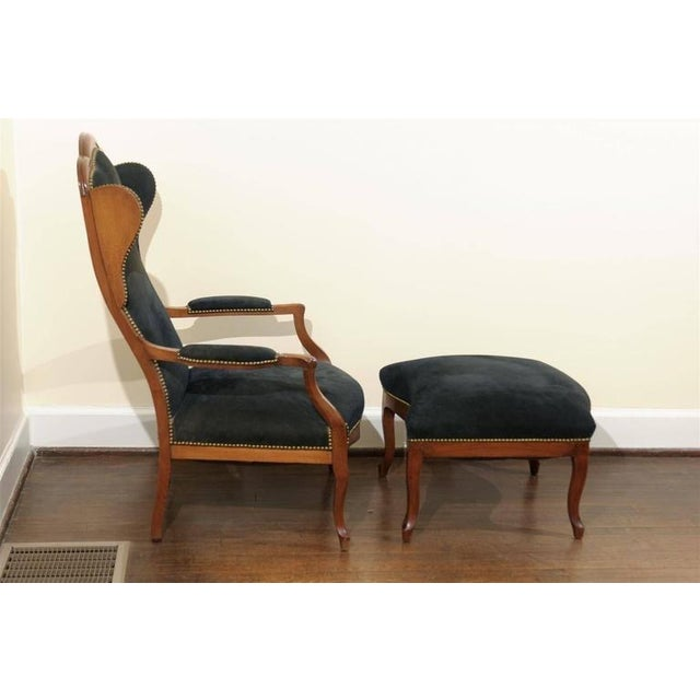 Antique Italian Wing Chair and Ottoman - Image 5 of 8