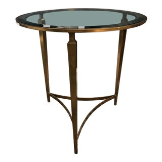 La Barge Sherwood Brass Tripod Glass Top Round Side Table