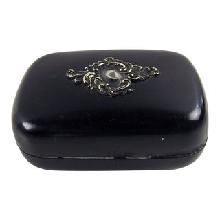 Black & Sterling Trinket Box For Sale