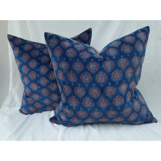 Block Print Velvet Pillows- A Pair - Image 2 of 4
