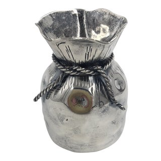 Almazan Silver Plate Draw String Sack Vase For Sale