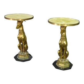 Matched Pair Brass and Alabaster French Greyhound Whippet Side Tables Circa 1940 For Sale