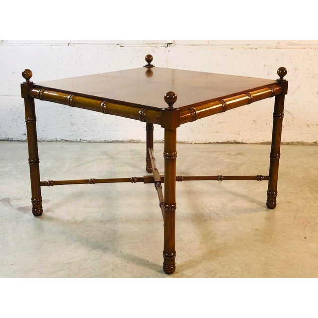 1960s Faux Bamboo Style Square Coffee Table For Sale - Image 13 of 13