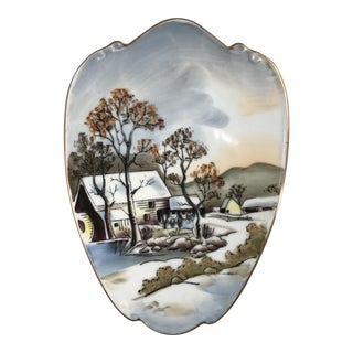 Mid-Century Scenic Japanese Gilded Porcelain Wall Plaque For Sale