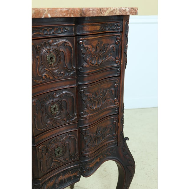 Vintage French Louis XV Marble Top Walnut Chest For Sale - Image 12 of 13