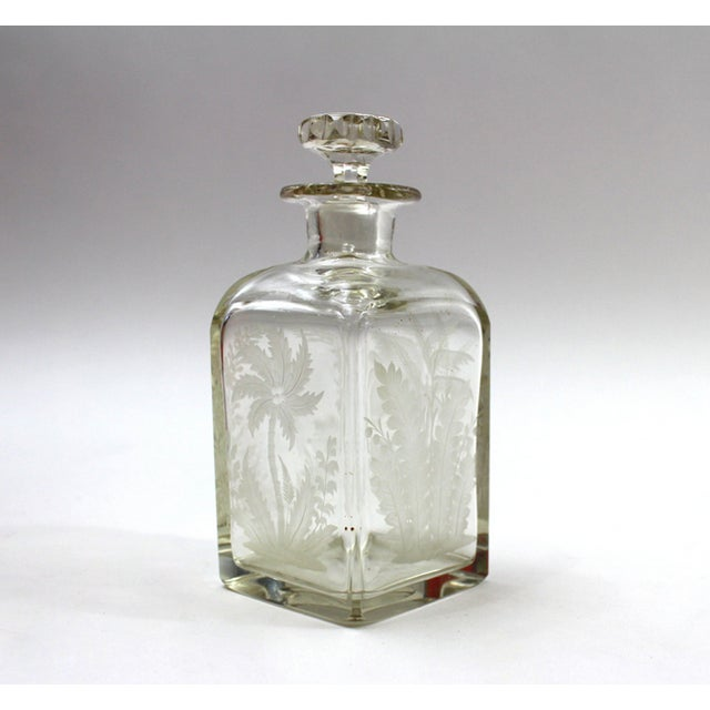 Antique 1910s Etched Crystal Perfume Bottle - Image 2 of 5