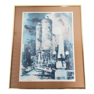 Vintage 1980s Limited Edition Chicago Marina Towers Watercolor Lithograph Signed Al Stine For Sale