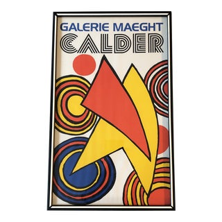 Alexander Calder Original Gallery Maeght Lithograph Poster 1970's Original Frame For Sale