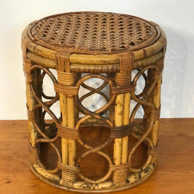 Set of Three Graduating/ Nesting Bamboo, Rattan and Reed Nesting Side Tables For Sale - Image 9 of 13