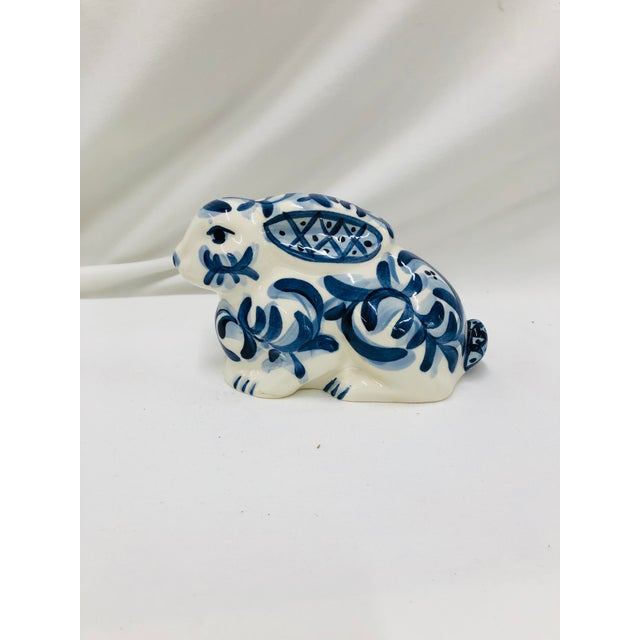 Ceramic 1997 Gail Pittman Blue and White Bunny For Sale - Image 7 of 7