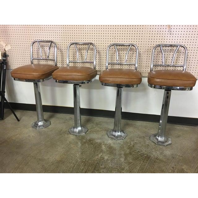 Chrome Soda Fountain Bar Stools - Set of 4 - Image 2 of 9