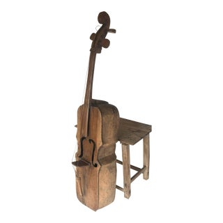 Vintage Carved Wooden Bass Sculpture For Sale