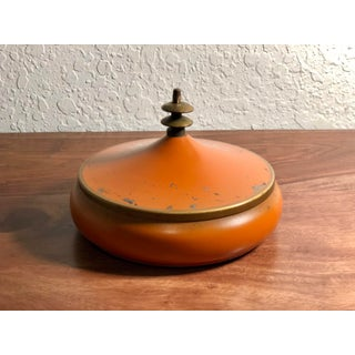 Vintage Orange Enamel Dish With Pagoda Lid Preview