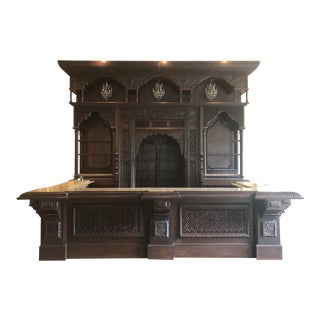 Hand Crafted Wooden Front and Back Bar With Granite Countertop, Sink, and Chandelier Lights For Sale