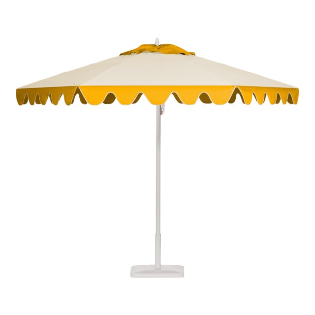 Lemon Frappe 9' Patio Umbrella, Canary Yellow & Off-white For Sale