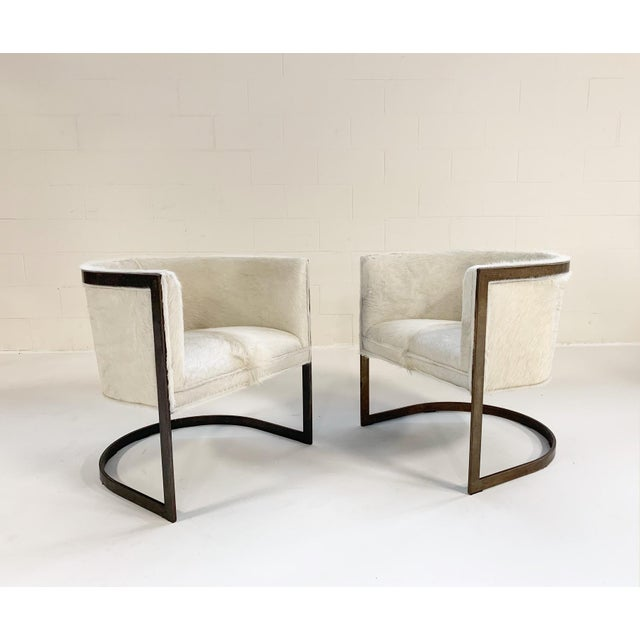 Vintage Brass Cantilever Chairs Restored in Brazilian Cowhide - Pair For Sale - Image 10 of 10