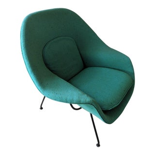 1960s Eero Saarinen Knoll Aquamarine Upholstered Womb Chair For Sale