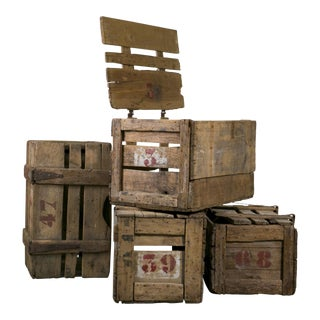 Primitive Hand-Made French Crates with Stenciled Numbers, circa 1900 For Sale