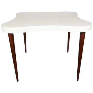 "Mid-Century ""Amoeba"" Cork Top Table With Conical Mahogany Legs by Paul Frankl For Sale"