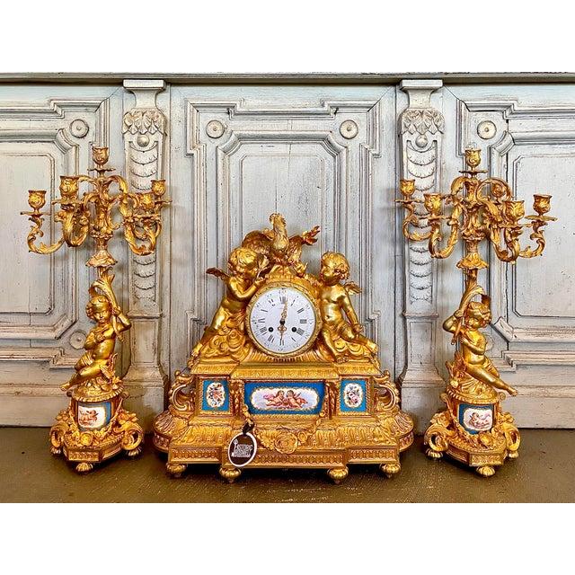 19th. C. French Louis XVI Dore Bronze Garniture Set For Sale - Image 13 of 13