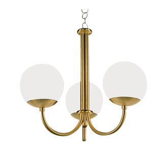 Oxford Brushed Brass 3 Arm Cracked Glass Globes Pendant Light For Sale