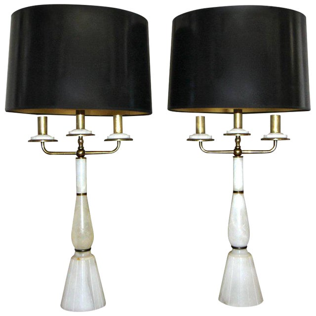 Italian Gio Ponti Style Alabaster Brass Lamps - a Pair For Sale