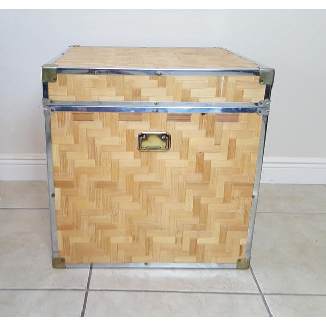 Bamboo 1970s Chinoiserie Woven Bamboo Storage Trunk For Sale - Image 7 of 13