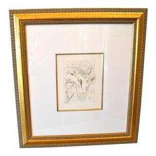 """Gold Framed Salvador Dali Inspired """"Melting Clock"""" Etching Print For Sale"""
