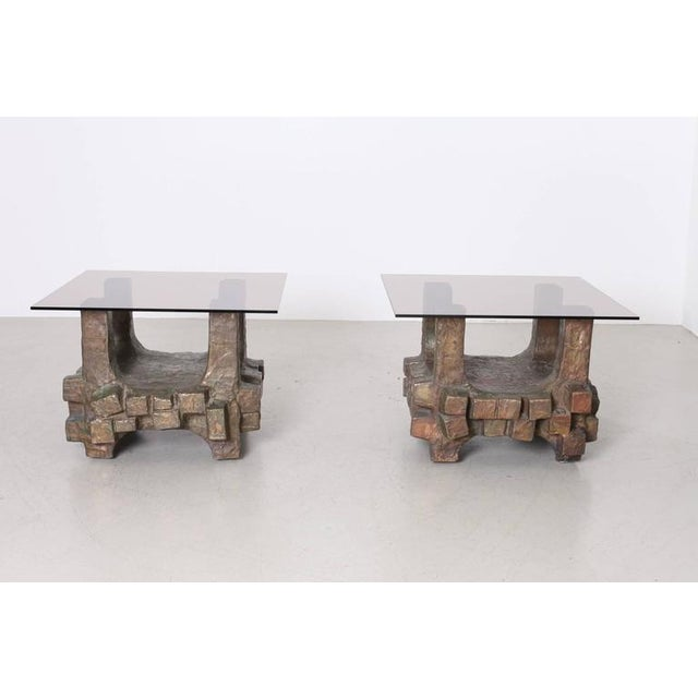 Unique Pair of Brutalist Bronze Side Tables in the Manner of Paul Evans For Sale - Image 4 of 7