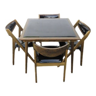 Mid Century Modern Stakmore Co Folding Card Dinette Table and Chairs - Set of 5 For Sale